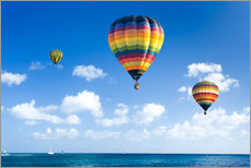Vinilo para la pared  Colorful hot air balloons on the blue sea