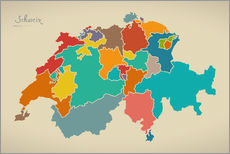 Vinilo para la pared  Switzerland Modern Map Artwork Design - Ingo Menhard