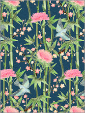Vinilo para la pared  bamboo birds and blossoms on teal - Micklyn Le Feuvre