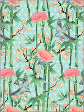 Vinilo para la pared  bamboo birds and blossoms on mint - Micklyn Le Feuvre