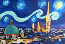 Vinilo para la pared  Starry Night in Vienna Austria   Saint Stephan Cathedral Van Gogh Inspirations - M. Bleichner