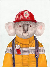 Cuadro de plexi-alu  Koala Firefighter - Animal Crew