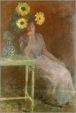 Vinilo para la pared  Sedentary woman next to a vase with sunflowers - Claude Monet
