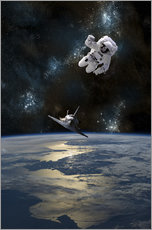 Cuadro de plexi-alu  An astronaut drifting in space is rescued by a space shuttle orbiting Earth. - Marc Ward