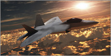 Cuadro de plexi-alu  An F-22 fighter jet flies at an altitude above the cloud layer on its mission. - Corey Ford