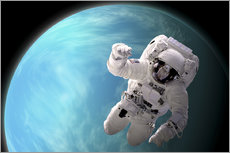 Vinilo para la pared  Artist's concept of an astronaut floating in outer space by a water covered planet. - Marc Ward