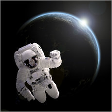Vinilo para la pared  Astronaut floating in space as the sun rises on to Earth-like planet. - Marc Ward