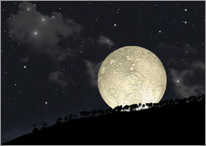 Vinilo para la pared  A full moon rising behind a row of hilltop trees. - Marc Ward