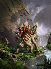 Cuadro de plexi-alu  A Stegosaurus is surprised by an Allosarous while feeding in a lush gorge. - Jerry LoFaro