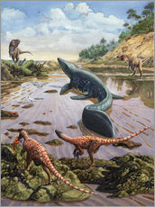 Vinilo para la pared  Raptors attack a vulnerable Mosasaurus that remained aground at low tide. - Sergey Krasovskiy