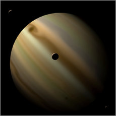 Cuadro de plexi-alu  Artist's depiction of a gas giant planet in interstellar space with three orbiting moons. - Marc Ward
