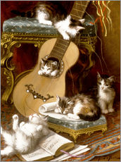 Vinilo para la pared  Kittens at play with a guitar - Jules Le Roy