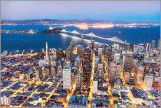 Vinilo para la pared  Aerial view of San Francisco downtown with Bay bridge at night, California, USA - Matteo Colombo