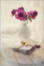 Vinilo para la pared  Still life with pink peonies and love letters - Jaroslaw Blaminsky
