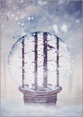 Vinilo para la pared Snowglobe with birch trees and raven