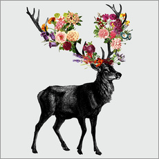 Vinilo para la pared  Spring Itself Deer Floral - Tobe Fonseca