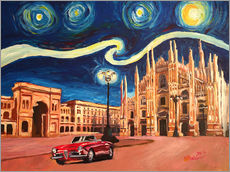 Vinilo para la pared  Starry Night in Milan Italy Oldtimer and Cathedral - M. Bleichner