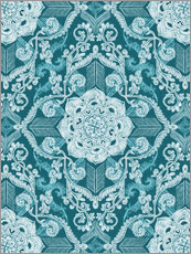 Vinilo para la pared  Centered Lace in Sea Green Teal - Micklyn Le Feuvre
