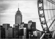 Cuadro de plexi-alu  Hong Kong Ferris Wheel in black and white - Sebastian Rost