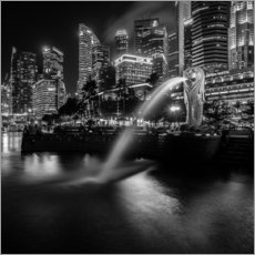 Cuadro de plexi-alu  Merlion Singapore black and white - Sebastian Rost