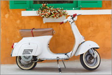 Vinilo para la pared  White scooter in front of a window