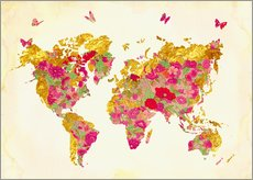 Cuadro de plexi-alu  Summer World Map - Mandy Reinmuth