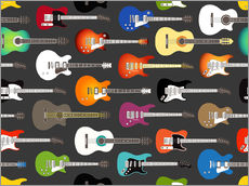 Cuadro de plexi-alu  Estampado de guitarras - Kidz Collection