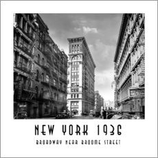Vinilo para la pared Historical New York, Broadway and Broome Street