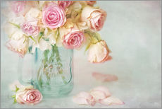 Vinilo para la pared  lovely pink roses - Lizzy Pe