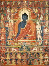 Vinilo para la pared  Painted Banner (Thangka) with the Medicine Buddha (Bhaishajyaguru) - Tibetan School