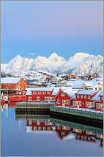 Vinilo para la pared  Pink sunset over the typical red houses reflected in the sea, Svolvaer, Lofoten Islands, Arctic, Nor - Roberto Sysa Moiola