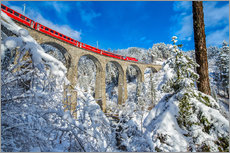 Cuadro de plexi-alu  Bernina Express passes through the snowy woods around Filisur, Canton of Grisons (Graubunden), Switz - Roberto Moiola