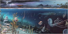 Vinilo para la pared  Cretaceous land and marine life, artwork - Richard Bizley