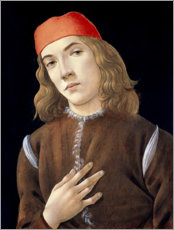 Cuadro de PVC  Portrait of a young man - Sandro Botticelli