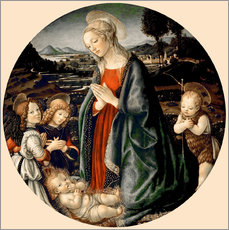Vinilo para la pared  The Virgin Adoring the Christ Child with St. John the Baptist and Two Angels - Sandro Botticelli