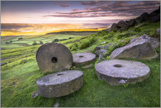 Vinilo para la pared  Stanage Edge millstones at sunrise, Peak District National Park, Derbyshire, England, United Kingdom - Andrew Sproule