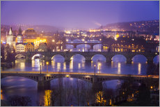 Vinilo para la pared  Prag with Vltava at dusk - Frank Fischbach