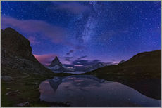 Vinilo para la pared  Matterhorn with milky way, Switzerland - Frank Fischbach