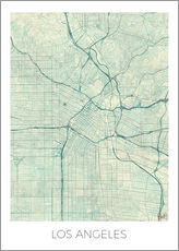 Cuadro de plexi-alu  Los Angeles Map Blue - Hubert Roguski