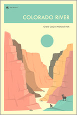 Vinilo para la pared  GRAND CANYON NATIONAL PARK POSTER - Jazzberry Blue