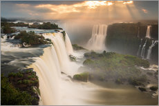 Vinilo para la pared  Iguazu falls waterfall at sunset. - Alex Saberi