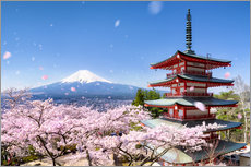 Cuadro de plexi-alu  Chureito Pagoda and Mount Fuji in spring, Fujiyoshida, Japan - Jan Christopher Becke