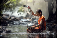 Cuadro de plexi-alu  Monk washing dishes