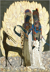 Cuadro de plexi-alu  Two stylized women with an antelope and foliage - Jean Dunand
