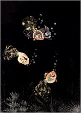Vinilo para la pared  Underwater scene with red and golden fish - Jean Dunand