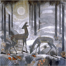 Vinilo para la pared  Two deer in the woods - Jean Dunand