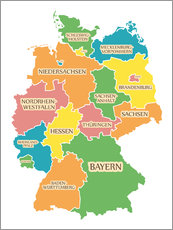 Cuadro de plexi-alu  Germany map with labels for learning children - Ingo Menhard