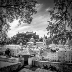 Vinilo para la pared SALZBURG Gorgeous Old Town with Citywall | Monochrome