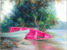 Cuadro de plexi-alu  pink boat on side - Jonathan Guy-Gladding
