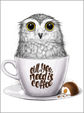 Cuadro de plexi-alu  Owl you need is coffee - Nikita Korenkov